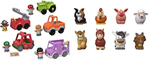 Fisher-Price Little People Around The Neighborhood Vehicle Pack, Set of 5 Push-Along Vehicles and 5 Figures for Toddlers [Amazon Exclusive] & Little People Animal Friends