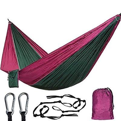 LOLO TOUR 1 Person Hammock Ultralight Single Parachute Hamac Outdoor Furniture Hammock 660LBS Bearing Camping Travel Beach Yard (Purple Green): Sports & Outdoors