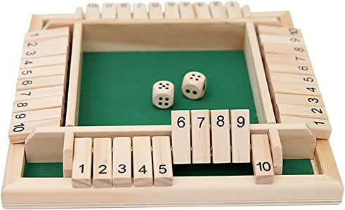 Konesky Juego De Dados De 4 Vías para Niños Adultos Juego De Mesa De Madera Grande Juego Inteligente para Aprender Números Estrategia Gestión del Riesgo (Verde): Amazon.es: Juguetes y juegos