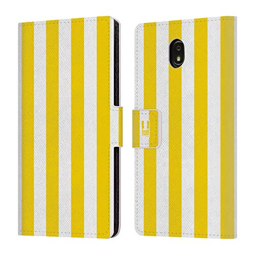 (Head Case Designs Yellow Vertical Stripes Leather Book Wallet Case Cover Compatible for Samsung Galaxy J7 (2018))