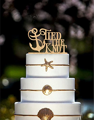 Amazon wedding cake topper tied the knot anchor nautical cake wedding cake topper tied the knot anchor nautical cake topper beach wedding gold cake topper silver junglespirit Gallery