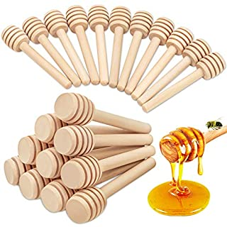 Honeycomb Stick - 20Pcs Wooden Honey Dipper, 3 Inch Mini Honey Stick for Honey Jar Dispense Drizzle Honey and Wedding Party Gift