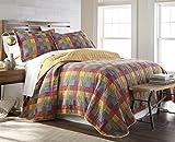 Sterling Creek Monaco 3-piece Vintage Rustic Patchwork 100%-Cotton Quilt Set (King)