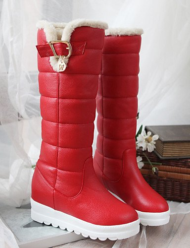 Xzz Eu39 Red Botas Rojo Negro Plataforma Zapatos Uk6 Redonda Nieve us8 Vestido Semicuero De Blanco Mujer Cn39 Punta rwrCZ