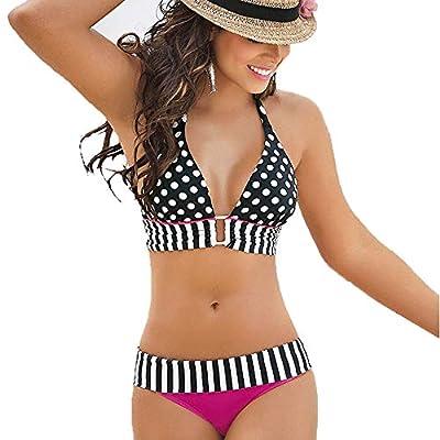 Women's Beach Suit Bikini Monokini Tankini Swimwear Stripe Dot Print Halter Lady Sexy Resort Hallmark Hot
