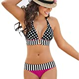 Hunzed Women【Striped Printed Bikini】Clearance Womens Striped Spot Print Strappy Tankini Swim Suit (XL, Hot Pink)