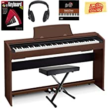 Casio Privia PX-770 Digital Piano - Brown Bundle with Adjustable Bench, Headphones, Instructional Book, Austin Bazaar Instructional DVD, and Polishing Cloth