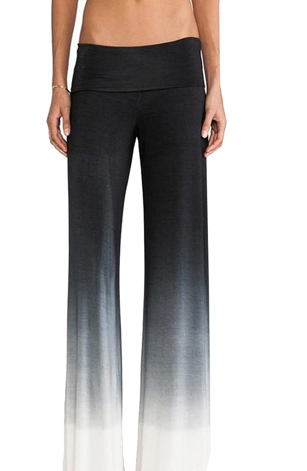Abetteric Women Comfy Chic Fashion Waist Baggy Wide Leg Pants