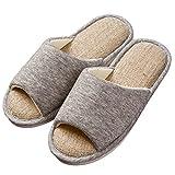 ONCAI Men's Cotton Linen Couple House Slipper Open Toe Terry Slipper (9-10.5 D(M) US, Gray-2)