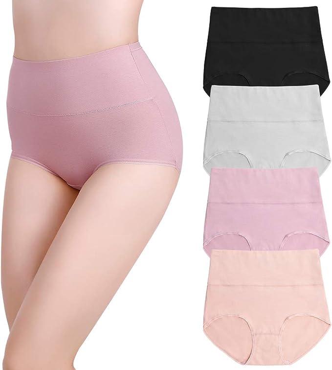 Soudittur Braguita de Talle Alto Algodón para Mujer Culotte Bragas de Cintura Alta Pack de 4: Amazon.es: Ropa y accesorios