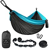 Camping Hammock - XL Double Parachute Camping Hammock (2 TREE STRAPS 16 LOOPS/10 FT INCLUDED)...