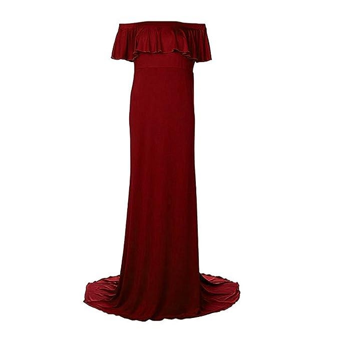 MagiDeal Mujeres Embarazadas Maxi Dresses Maternity Gown Fotografía Props Photo Shoot - rojo, S