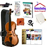 Homeschool Music - Learn to Play the Violin Pack (Disney Music Book Bundle) - Includes Student 4/4 Violin w/Case, DVD, Books & All Inclusive Learning Essentials