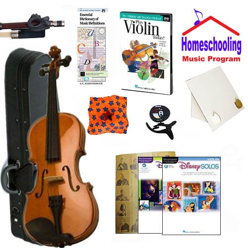 Homeschool Music - Learn to Play the Violin Pack (Disney Music Book Bundle) - Includes Student 4/4 Violin w/Case, DVD, Books & All Inclusive Learning Essentials by Ryker Sound Discoveries