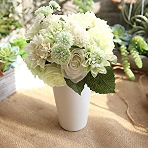 Lemax Artificial Flowers,10 Heads Rose Dahlia Daisy Fake Flower Arrangement Bridal Wedding Bouquets for Home Garden Party Office Décor(Fresh White and Green) 34
