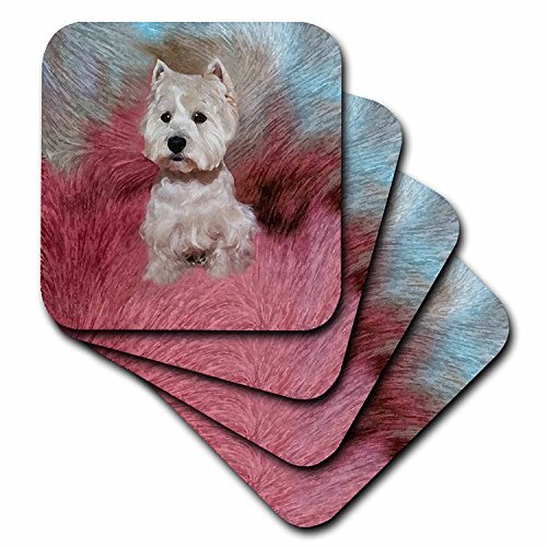 (3dRose LLC Westie Ceramic Tile Coaster, Set of 4)