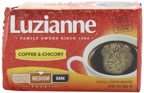 Luzianne Red Label Coffee & Chicory Medium Roast Coffee, 13oz (Pack of 4) (Label Coffee)