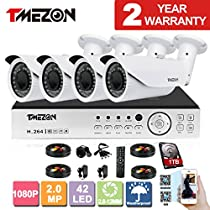 TMEZON AHD 4CH 1080P DVR Security System with 4x 2.0MP AHD IR In/Outdoor Bullet Cameras Free App 1TB HDD