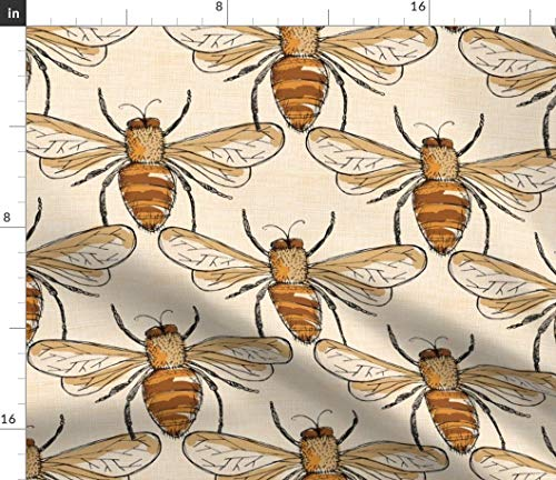Bumble Bees Fabric - Inset Bugs Wings Spring Summer Bee Romantic Country Nature Honey by Laurawrightstudio Printed on Linen Cotton Canvas Ultra Fabric by The Yard