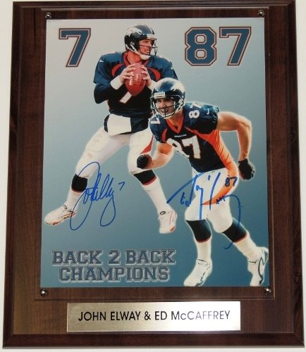 john-elway-and-ed-mccaffrey-autographed-hand-signed-denver-broncos-8x10-photo-with-free-wall-plaque