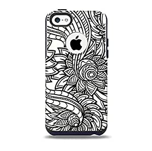 The Black & White Vector Floral Connect Skin for the iPhone 5c OtterBox Commuter Case (Decal Only)