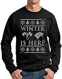 Winterfell Winter Is Here Ugly Christmas Sweater Sweatshirt Game Thrones Crewneck Black XL