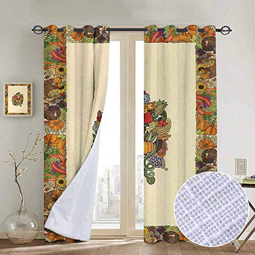 "NUOMANAN Window Curtains Thanksgiving,Pumpkin Wreath Bow Cranberry Leaves Ivy Corn Basket Traditional Pattern Fall,Multicolor,Tie Up Window Drapes Living Room 52""x72"""