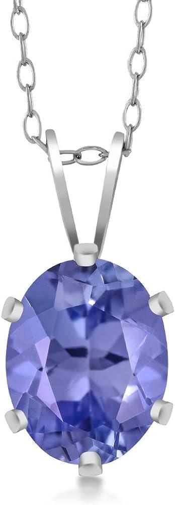 Sterling SIlver Tanazanite Oval Pendant Necklace 18