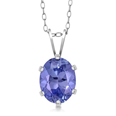 Amazon sterling silver tanzanite pendant necklace 130 cttw sterling silver tanzanite pendant necklace 130 cttw 8x6mm oval with 18 inch silver aloadofball Images