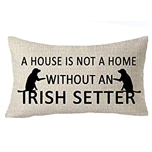"""FELENIW A house is not a home without an Irish setter Family friends dog pet gift Throw Pillow Cover Cushion Case Cotton Linen Material Decorative 12"""" x 20'' inches 2"""
