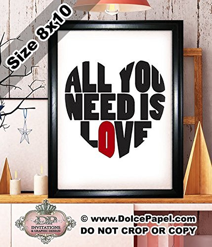 Shimmery Metallic Red and Black ALL YOU NEED IS LOVE The Beatles Quote Modern Art Deco Framed Art Print Size 8x10 Black ()