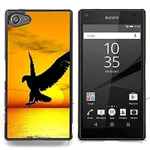 """Qstar Arte & diseño plástico duro Fundas Cover Cubre Hard Case Cover para Sony Xperia Z5 Compact Z5 Mini (Not for Normal Z5) (Halcón del águila del pájaro salvaje vuelo Sunset Yellow"""")"""
