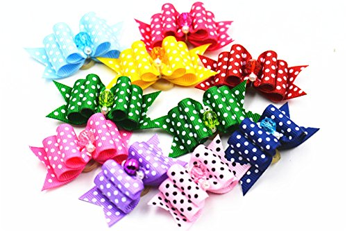50pcs TecGeo(TM) 20 50 100pcs  set dog bow tie pattern cute dot pattern candy color dog bow tie in hair grooming hair accessories puppy hair bows