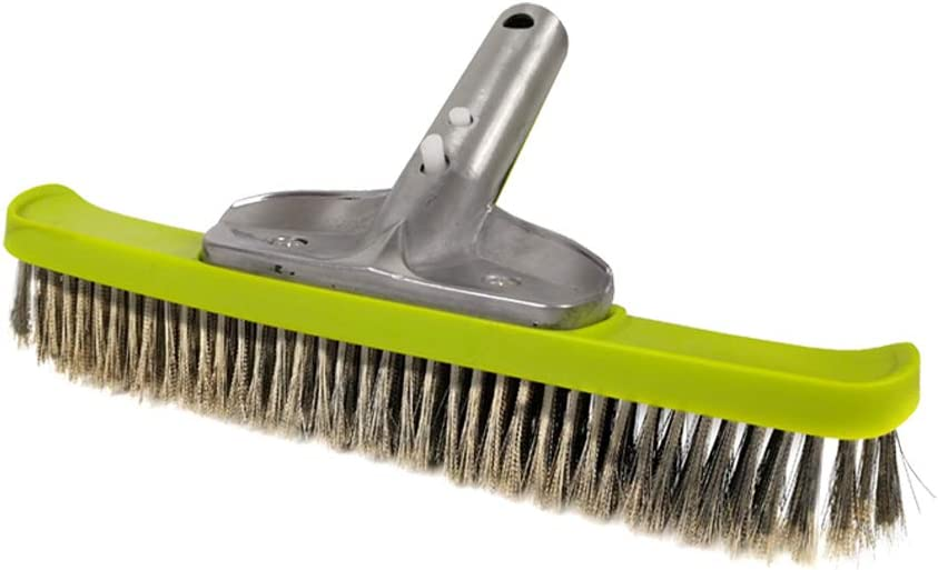 POOLWHALE 10'' Heavy Duty Wire Brush with Stainless Steel Bristles,Suitable for Concrete and Gunite Pools and Walkways