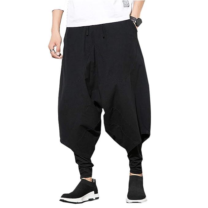 Men's Steampunk Pants & Trousers PRIJOUHE Mens Harem Pants Baggy Wide Leg Hip Hop PantsCasual Cotton Linen  AT vintagedancer.com