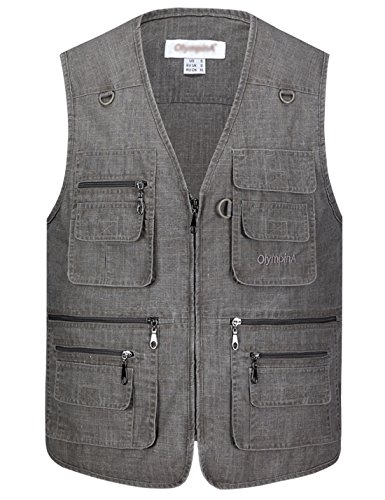 Gihuo Men's Summer Leisure Outdoor Pockets Fish Photo Journalist Vest Plus Size (Large, Grey#2) (2 Vest)