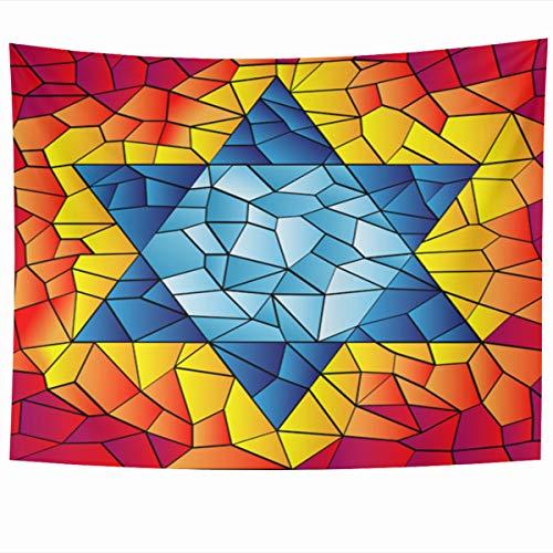 Ahawoso Tapestry Wall Hanging 60x50 Inches Israel Blue David Six Pointed Star Mosaic Vivid Bright Jewish Kippur Yom Glass Design Home Decor Tapestries Art for Living Room Bedroom Dorm