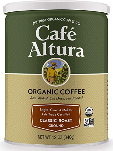 - Cafe Altura Ground Organic Coffee, Fair Trade Classic Roast, 12 Ounce (Pack of 3)