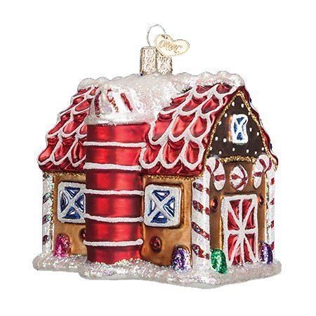Old World Christmas Gingerbread Barn Glass Blown Ornament by Old World Christmas