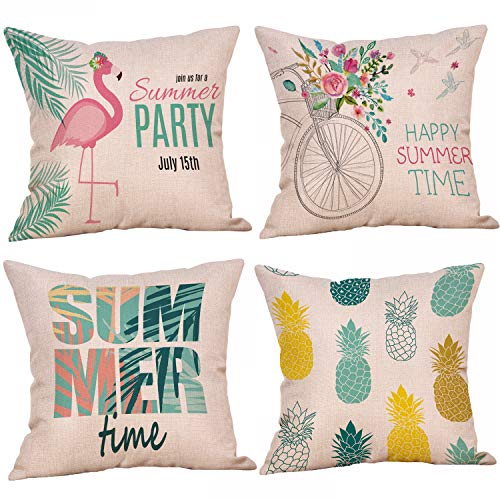 Summer Pillow Covers 18 x 18 Inches Set of 4 - Summer Series Cushion Cover Case Pillow Custom Zippered Square Pillowcase (11 Summer)