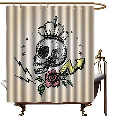 (Godves Womens Shower Curtain,Skull Decor Mexican Folk Art Inspired Skeleton with Crown and Rose Halloween Artsy Design,Shower Curtain with Hooks,W55x84L,Yellow)