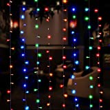 LIGHTESS Curtain Lights 300 LED Window Fairy String Light Indoor Outdoor for Christmas Wedding Party Garden Bedroom Decoration, Multicolor, 8 Modes 9.84ft Length x 9.84ft Width