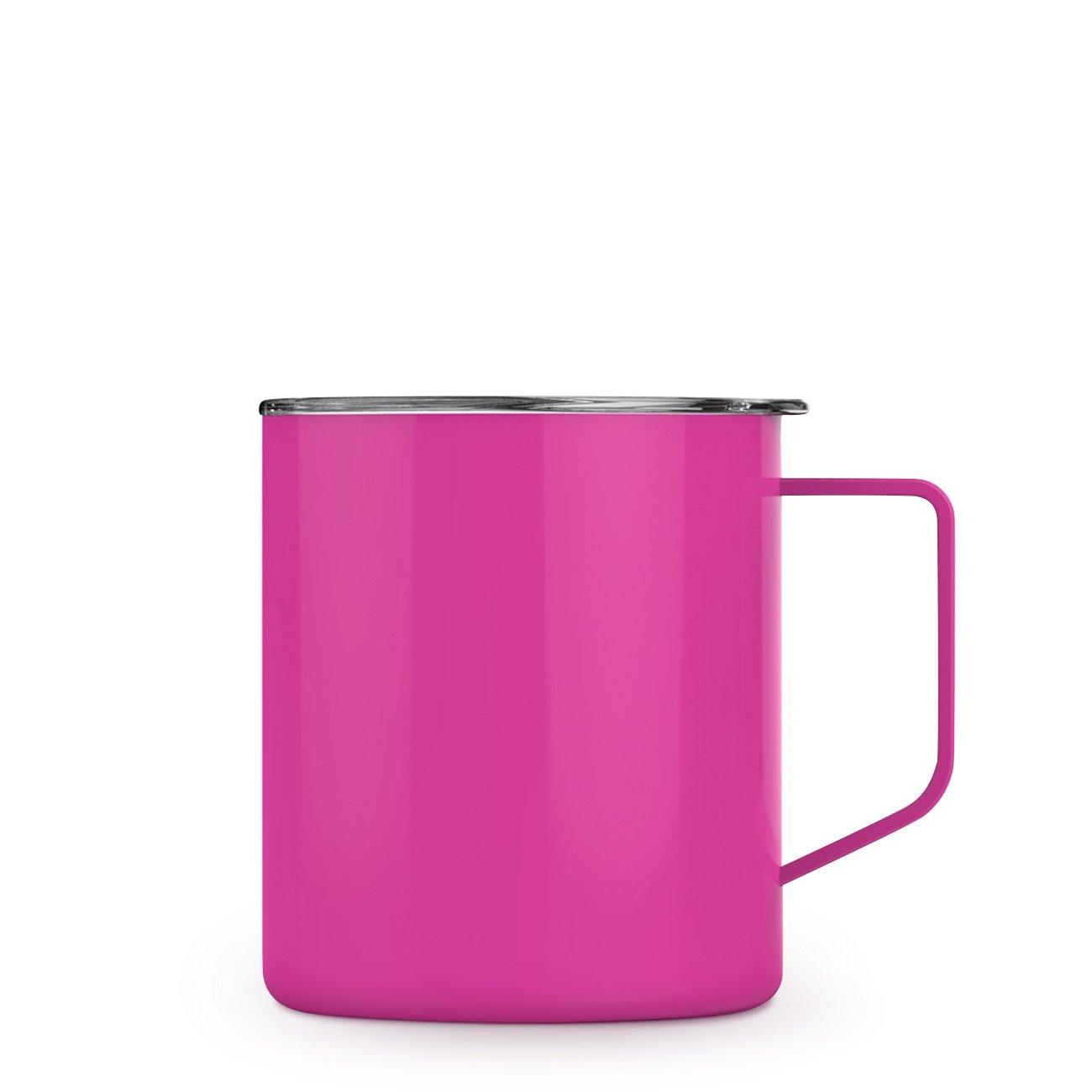 Maars Townie Insulated Coffee Mug, 14 oz   Double Wall Vacuum Sealed Camp Cup - Fuchsia