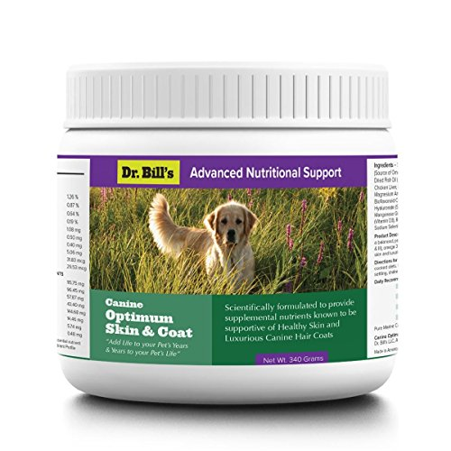 Dr. Bill's Canine Optimum Skin & Coat| Pet Supplement for Dogs| Reduced Shedding | Reduced Itchy Hot Spots | Includes Omega-3, Pacific Kelp, Collagen Type I & III, Biotin, and Vitamin B12 | 340 Grams
