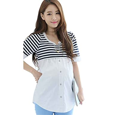 ace48e7bf653d Arichtop Breastfeeding Blouses Feeding Maternity Shirt Pregnancy Tops  Nursing Shirts Maternity Clothes for Pregnant: Amazon.co.uk: Clothing