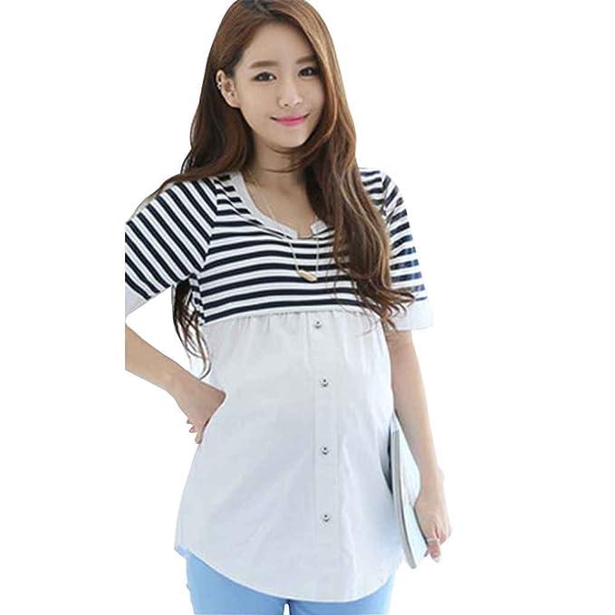 15462a86ccdaa Irene Breastfeeding Blouses Feeding Maternity Shirt Pregnancy Tops Nursing  Shirts Maternity Clothes for Pregnant White