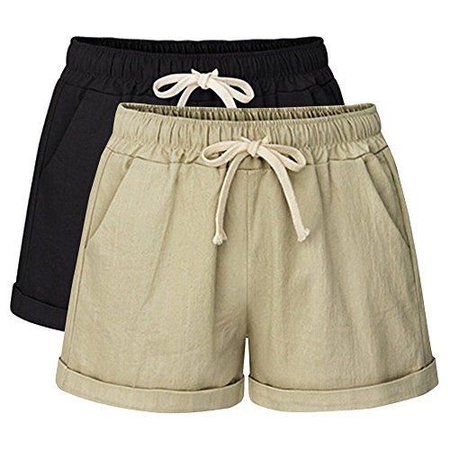 Yknktstc Womens Plus Size Elastic Waist Cotton Linen Casual Beach Shorts with Pockets Small 2 Pack Black Khaki