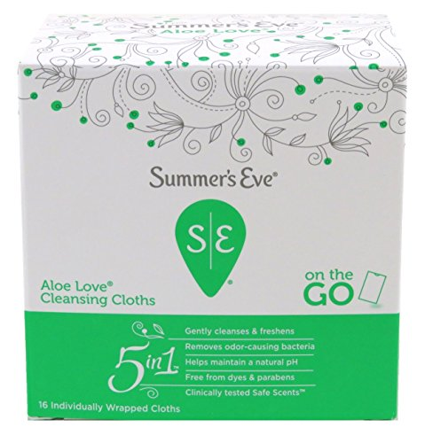 Summers Eve Soft Cloths (Summers Eve Cleansing Cloths 16 Count Aloe Love-PH Balanced, Dermatologist & Gynecologist Tested-Packaging May Vary)