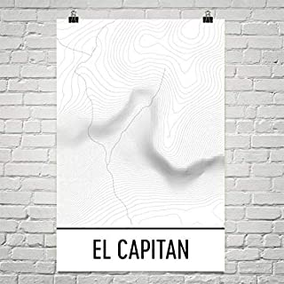 Modern Map Art El Capitan-Yosemite mise en route, carte topographique d'El Capitan 12 «X 18» carte topographique d'El Capitan 12 «X 18»