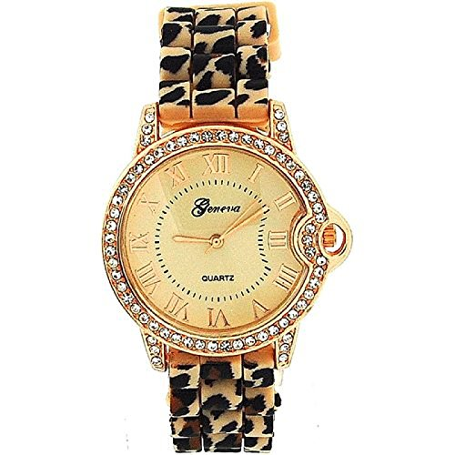 - Ladies Rose Gold Beige Leopard Print Silicone Fashion Watch GE0642B